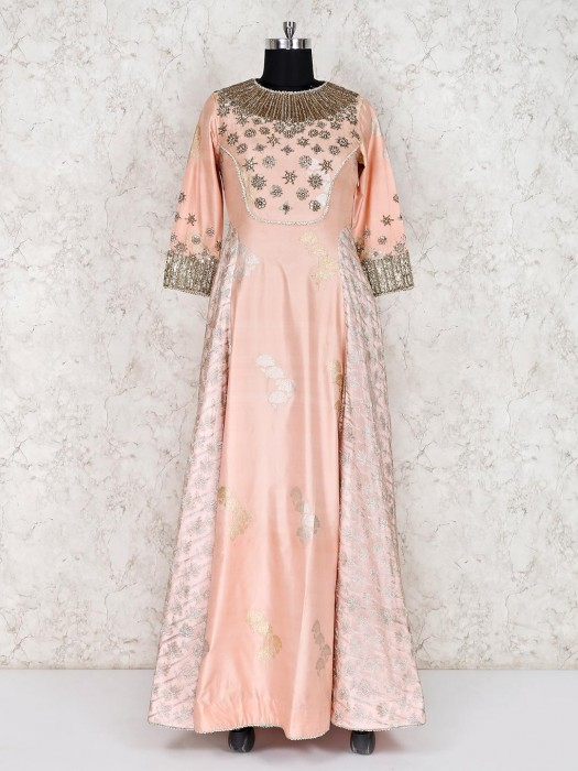Peach Tissue Silk Party Function Anarkali Suit