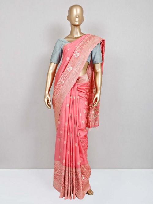 Peach Wedding Wear Cotton Silk Saree