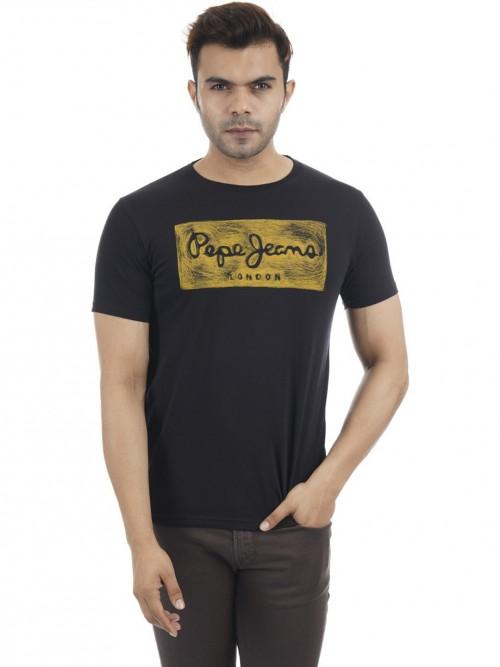 Pepe Jeans Black Cotton Mens Printed T-shirt