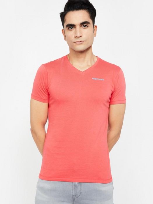 Pepe Jeans Bright Pink Solid T-shirt