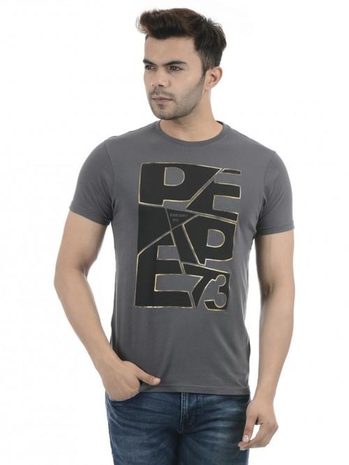 Pepe Jeans Grey Half Sleeves Printed T-shirt