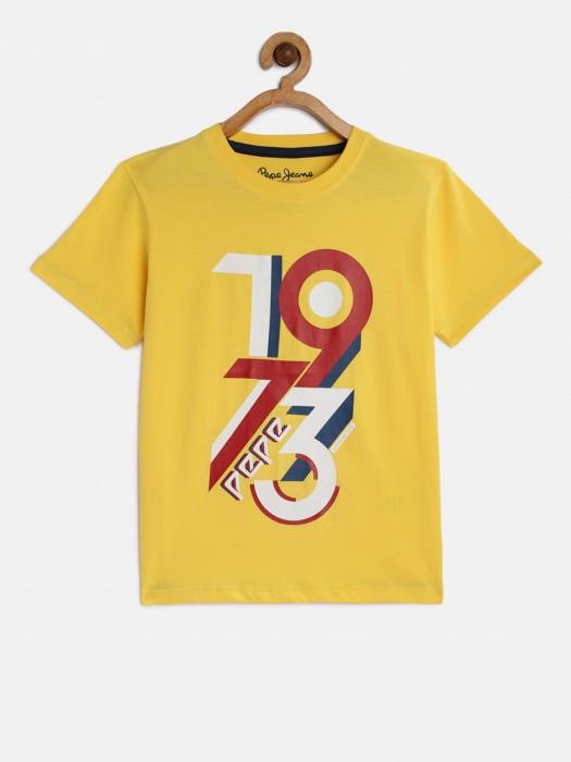 Pepe Jeans Half Sleeves Mustard Printed T-shirt
