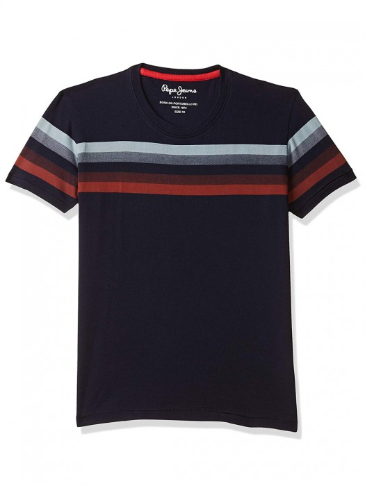 Pepe Jeans Navy Hued Stripe Casual T-shirt