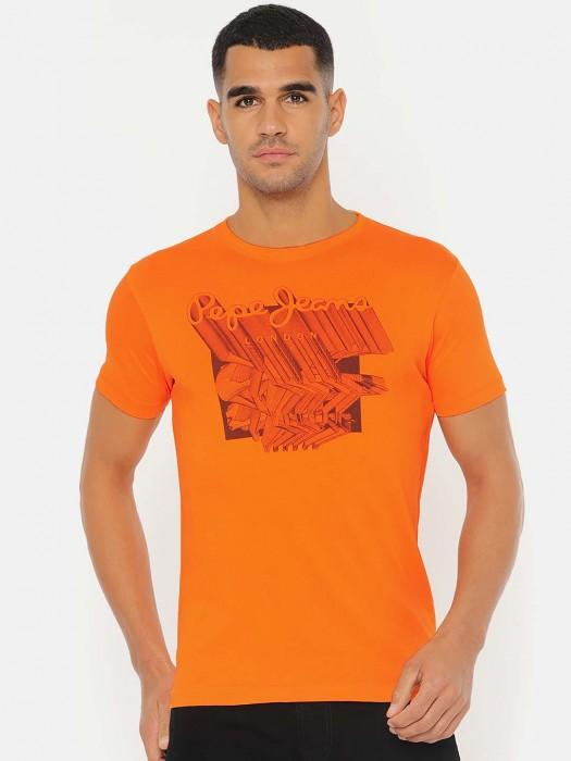 Pepe Jeans Orange Colored Printed T-shirt