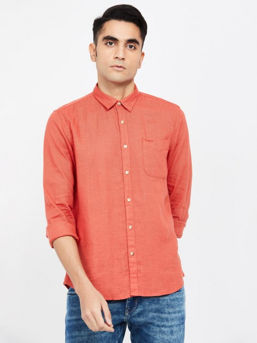Pepe Jeans Orange Linen Shirt