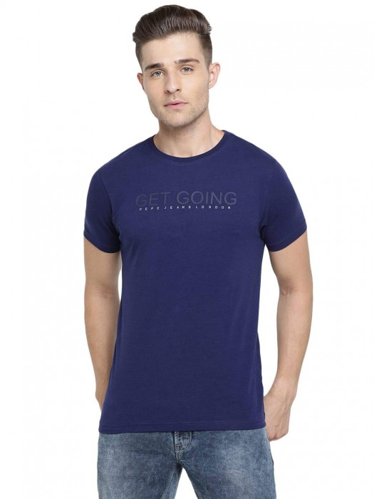 Pepe Jeans Printed Blue Mens T-shirt