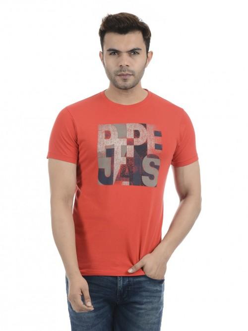 Pepe Jeans Round Neck Printed Orange T-shirt