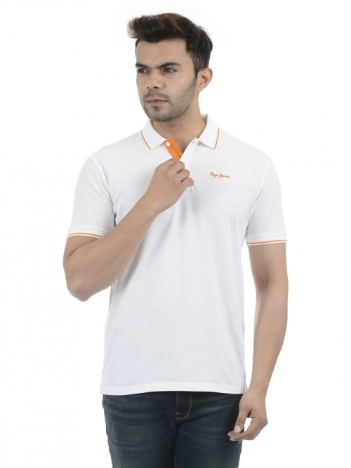 Pepe Jeans Solid White Polo T-shirt