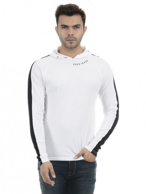 Pepe Jeans White Solid Hooded Sweatshirt