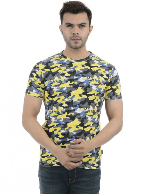 Pepe Jeans Yellow And Black Camouflage Printed T-shirt