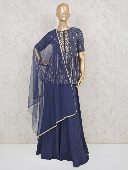 Peplum Style Palazzo Suit In Navy Blue