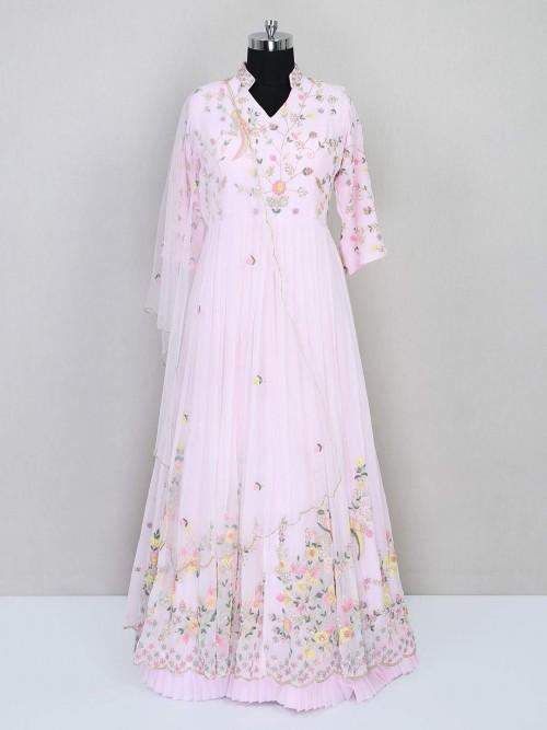 Pink Anarkali Salwar Kameez For Festive Wear