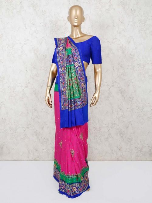 Pink And Blue Satin Silk Saree For Weddings