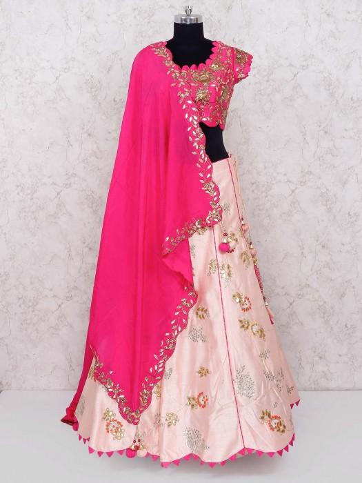 Pink And Magenta Raw Silk Lehenga Choli
