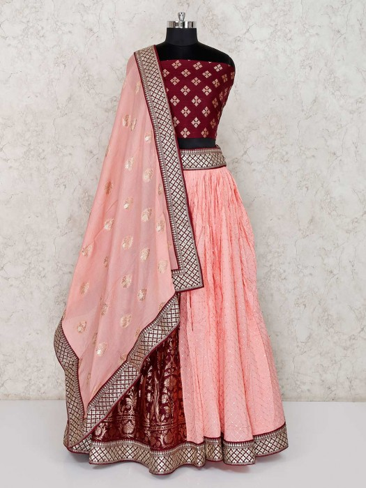 Pink And Maroon Georgette Semi Stitched Choli Suit