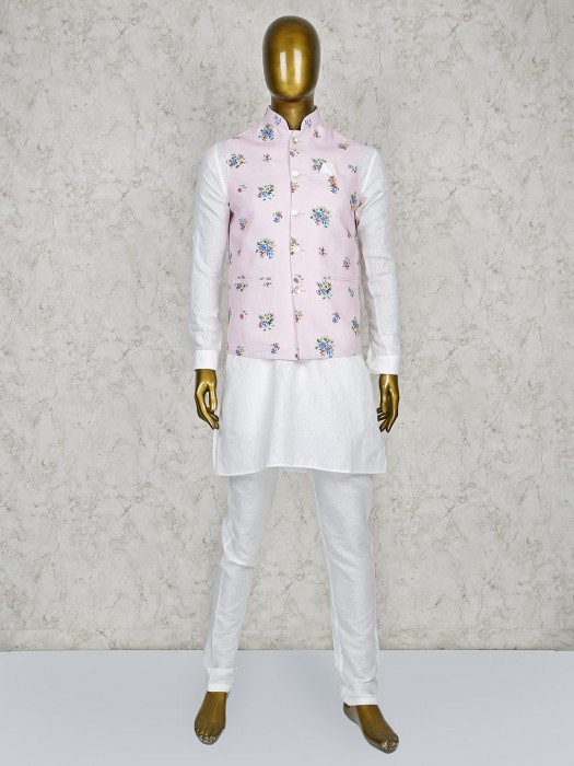 Pink And White Terry Rayon Printed Waistcoat Set