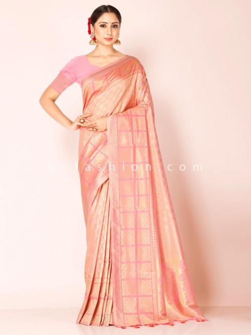 Pink Art Kanjivaram Silk Wedding Occasion Saree