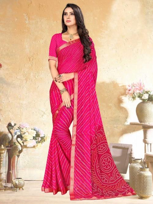 Pink Bandhej Saree For Festival Wear