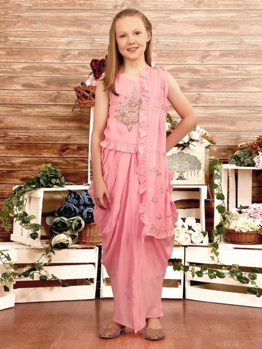 Pink Color Cotton Silk Designer Party Dhoti Suit