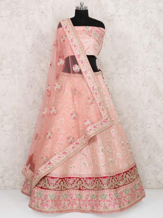Pink Color Raw Silk Wedding Semi Stitched Lehenga Choli