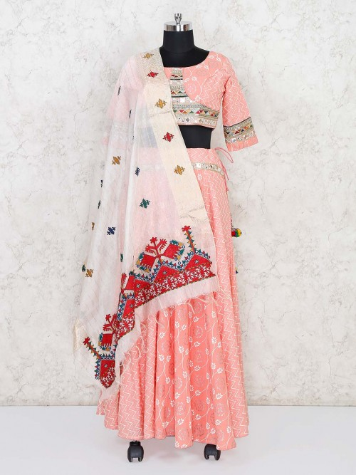 Pink Cotton Festive Function Lehenga Choli