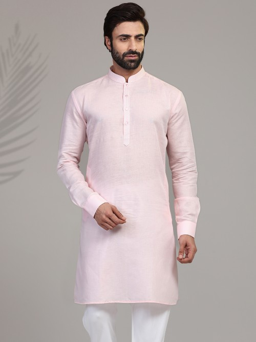 Pink Cotton Kurta For Festive Wear