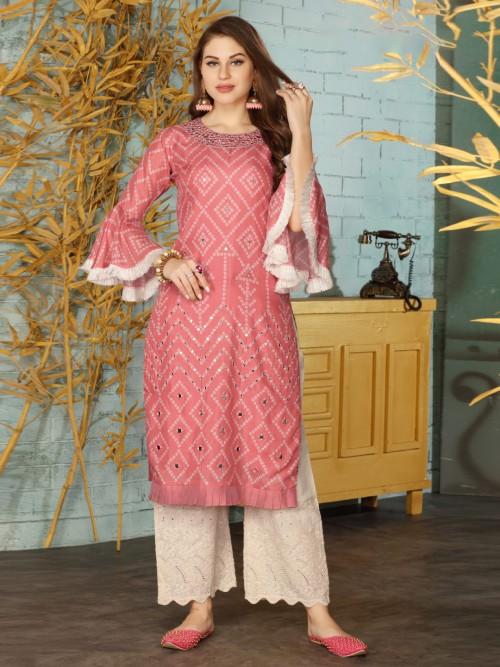 Pink Cotton Printed Punjabi Palazzo Suit