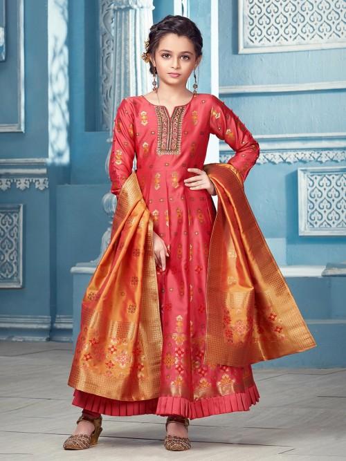 Pink Cotton Silk Anarkali Suit