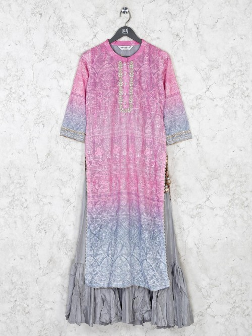 Pink Cotton Thread Work Kurti
