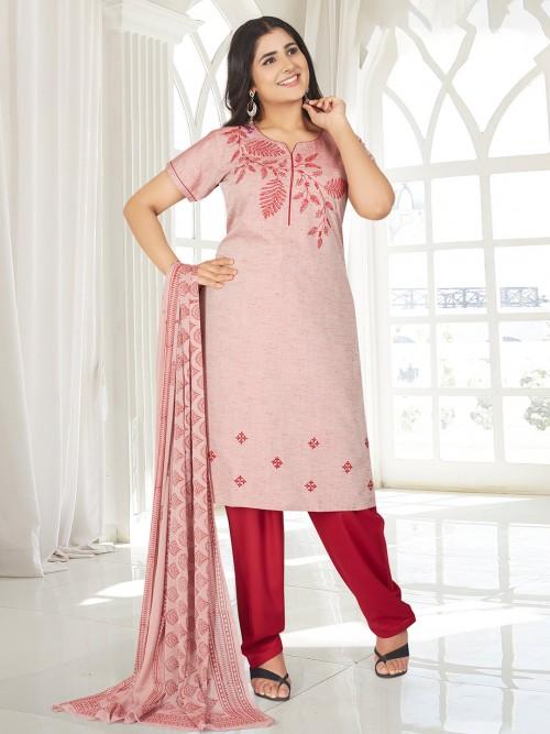 Pink Festive Wear Punjabi Salwar Suit In Cotton