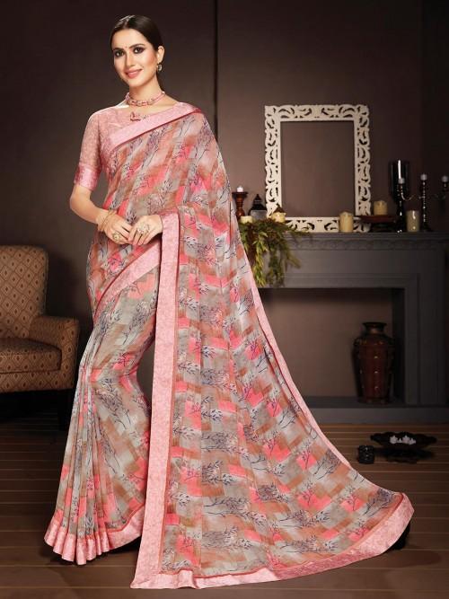 Pink Floral Printed Saree In Georgatte