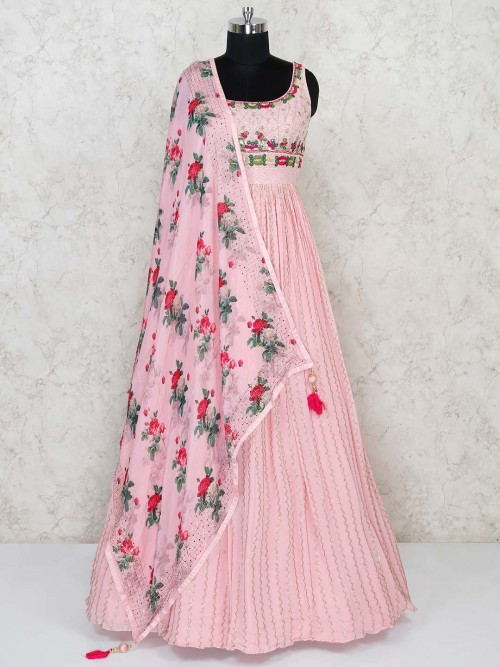 Pink Georgette Floor Length Wedding Anarkali Suit