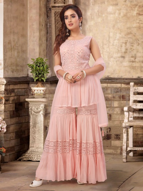 Pink Georgette Party Function Designer Sharara Suit