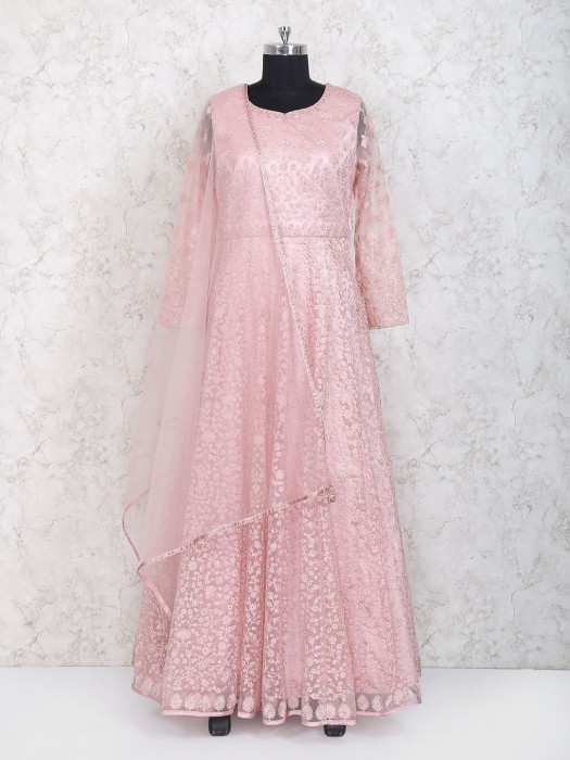 Pink Hue Floor Length Anarkali Suit In Net