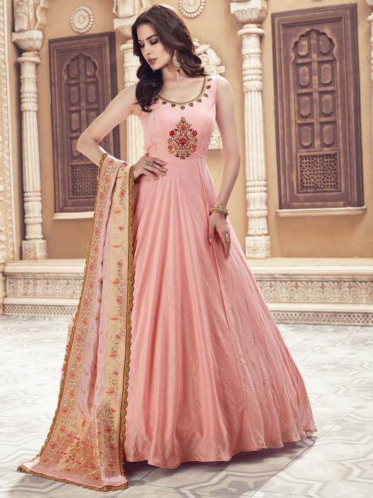 Pink Hue Raw Silk Floor Length Anarkali Salwar Suit