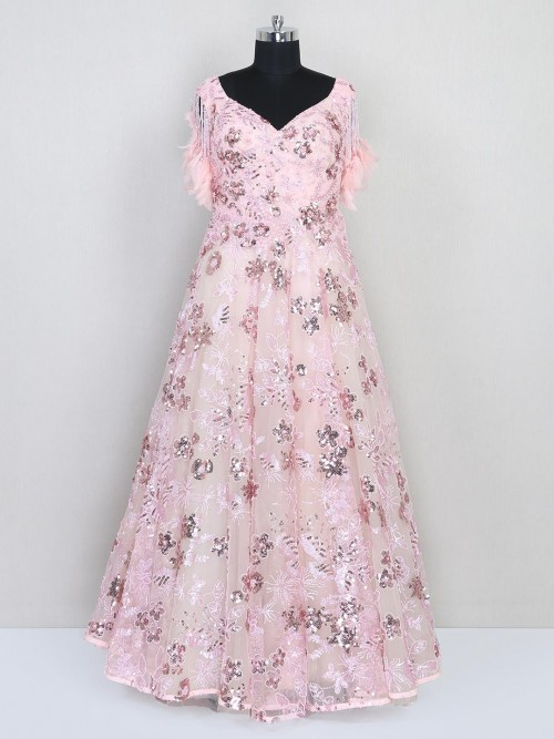 Pink Net Wedding Wear Gown For Women