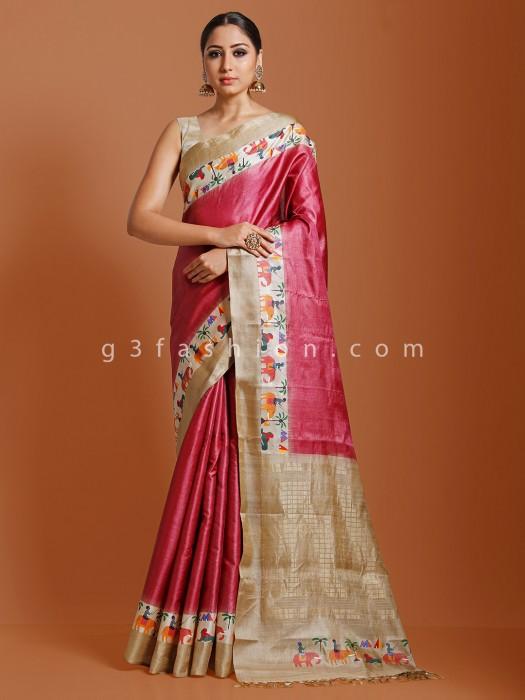 Pink Oil Printed Tussar Silk Saree