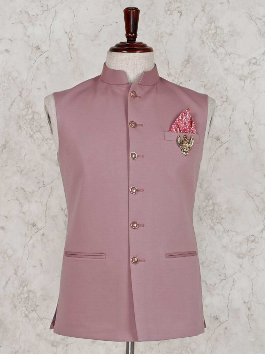 Pink Party Wear Solid Terry Rayon Waistcoat