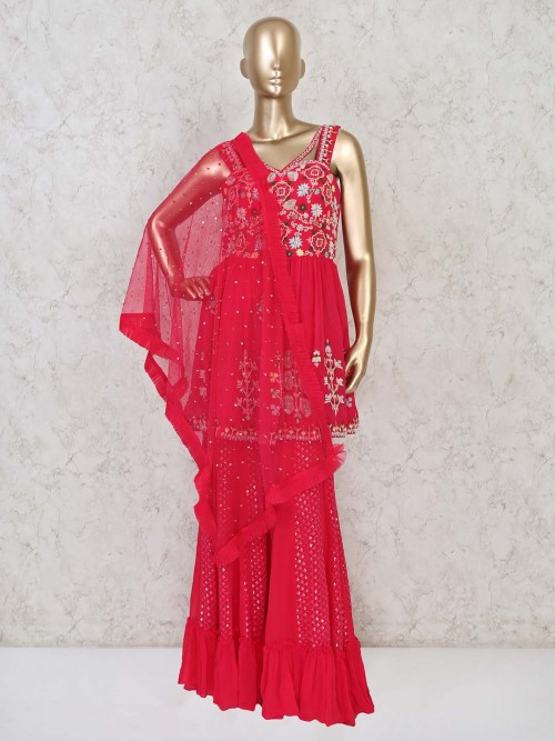 Pink Sharara Suit For Party Events