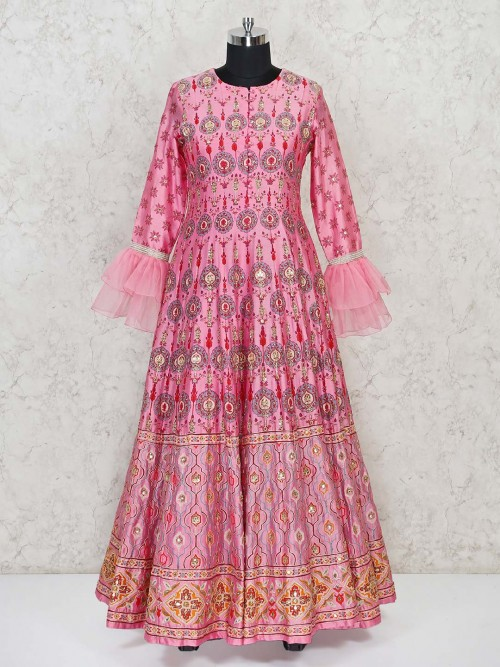 Pink Silk Anarkali Dress With Ruffle Sleeves