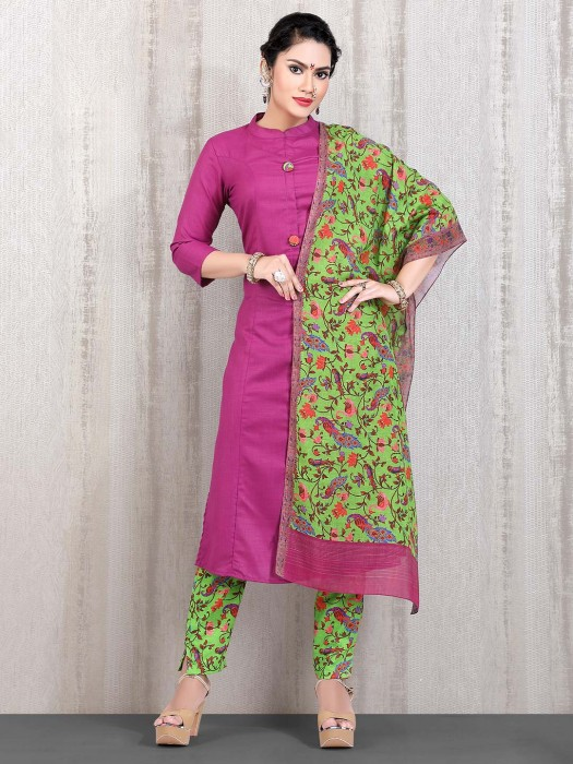 Pink Solid Straight Cut Casual Wear Punjabi Pant Suit