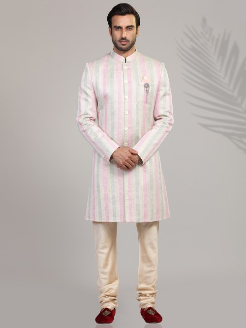 Pink Stripe Wedding Wear Indo Western