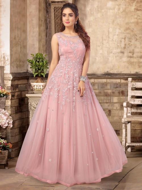 Pink Tissue Silk Floor Length Anarkali Suit