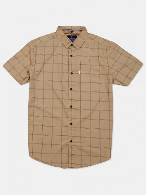 Pioneer Beige Checks Mens Shirt