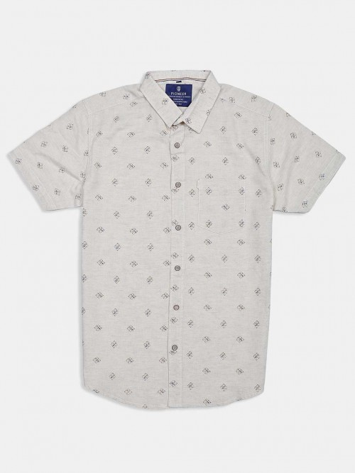 Pioneer Beige Printed Cotton Shirt