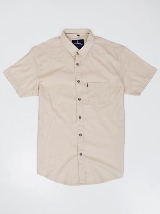 Pioneer Beige Solid Cotton Shirt