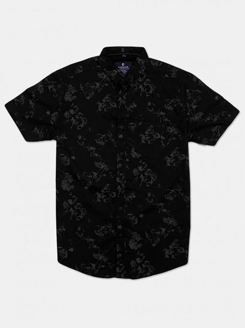 Pioneer Printed Black Apple Cut Hem Shirt