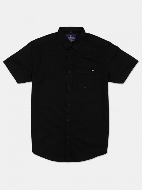 Pioneer Solid Black Cotton Slim Fit Shirt