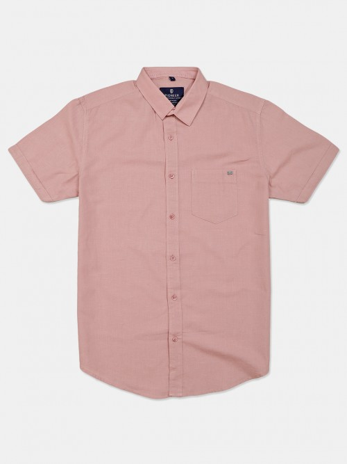 Pioneer Solid Light Pink Cotton Shirt