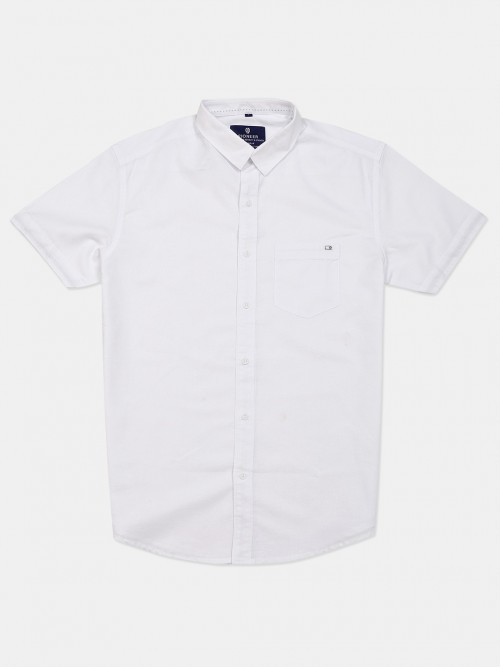 Pioneer Solid White Cotton Shirt
